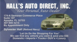 Hall's Auto Direct Busines Card image