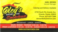 Oley's Kitchen Business Card ad